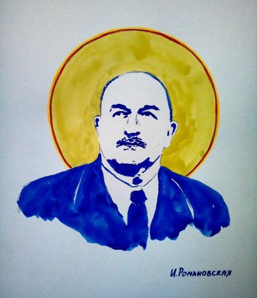 Петербургская художница грудью нарисовала портрет Черчесова